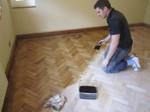 Oak parquet floor staining colouring - Dark oak