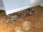 Herringbone pine parquet wood/timber flooring sanding. parquet repairs and refinishing Southampton