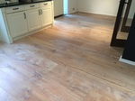 White light oiled oak flooring, ripped oak aged wood flooring installed in kitchen/dining room in Ringwood