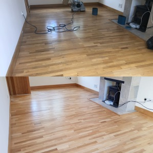 Engineered oak planks sanded and refininshed