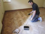 Oak parquet floor staining colouring - Dark oak
