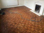 Finger parquet parkett wood floor sanded and filled finished with lacquer