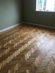 Parquet sanding and fininshing of a pine herringbone wood floor including all the repairs required in Stockbridge