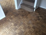 hall way befor the floor sanding was started looking tired Wimborne