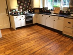 Pine floorboards repaired, sanded, stained and varnished in Warminster