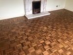 Teak Parquet mosaic wood flooring sanded and re-finished in Ringwood