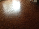 jatoba parquet wood flooring sanded/restored and lacquered - Blandford Forum