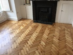 Pine Herringbone parquet wood flooring sanding and restoration and repairs carried out in Eastleigh