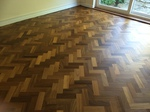 Parquet floor sanding/restoration and refinishing with repairs and gap filling in Lydhurst