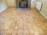 Solid beach basket weave Parquet sanded and repaired in Stockbridge