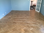 Solid oak parquet flooring sanded and lacquered