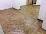 Oak parquet restoration in an old army shelter in Salisbury