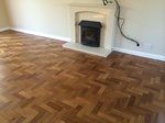 Mahogany Parquet wood flooring sanded and lacquerded